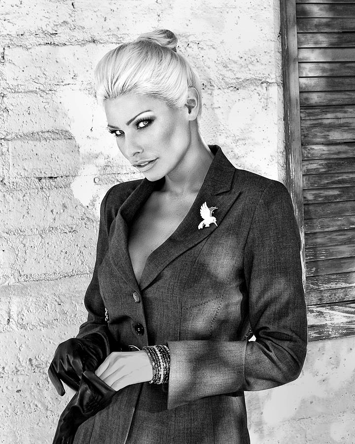 Blonde Photograph - Shadowing Her Bw Palm Springs by William Dey