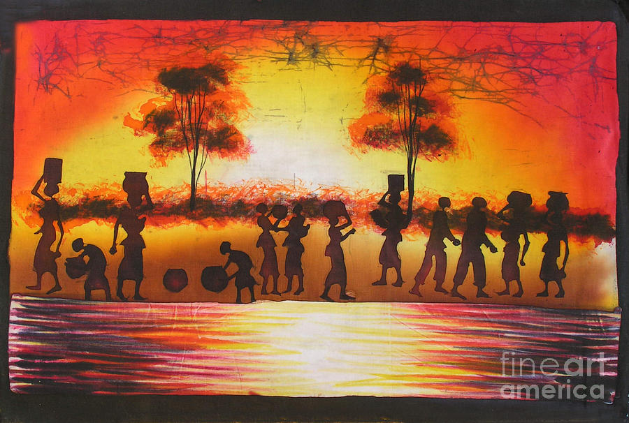 African Painting - Shadows Of Unity by Peter Mkoweka