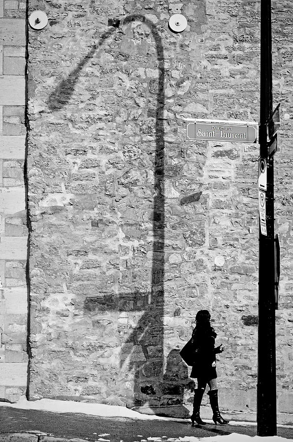 Black And White Photograph - Shadows On St-laurent by Valerie Rosen