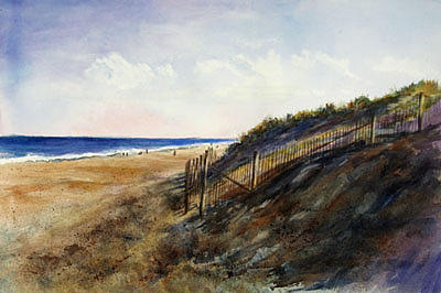 Beach Painting - Shadows On The Dunes by Barbara Seibel