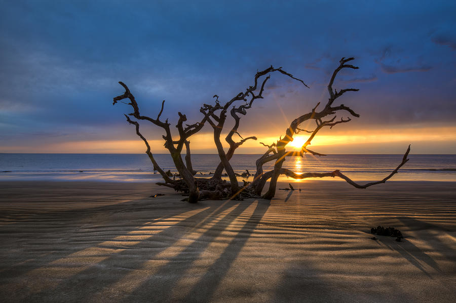 Clouds Photograph - Shadows On The Sand by Debra and Dave Vanderlaan