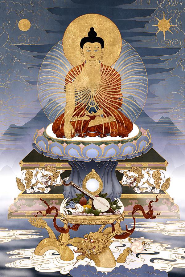 Shakyamuni Painting - Shakyamuni Buddha - The Dragons Story by Ben Christian