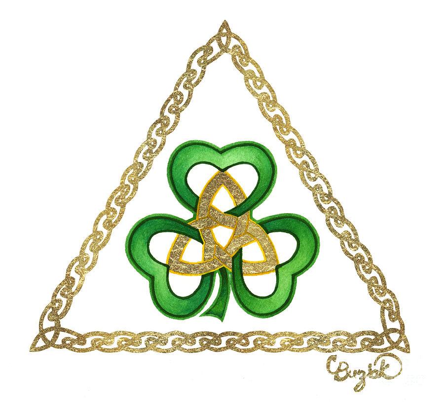 Celtic Painting - Shamrock Trinity by Cari Buziak