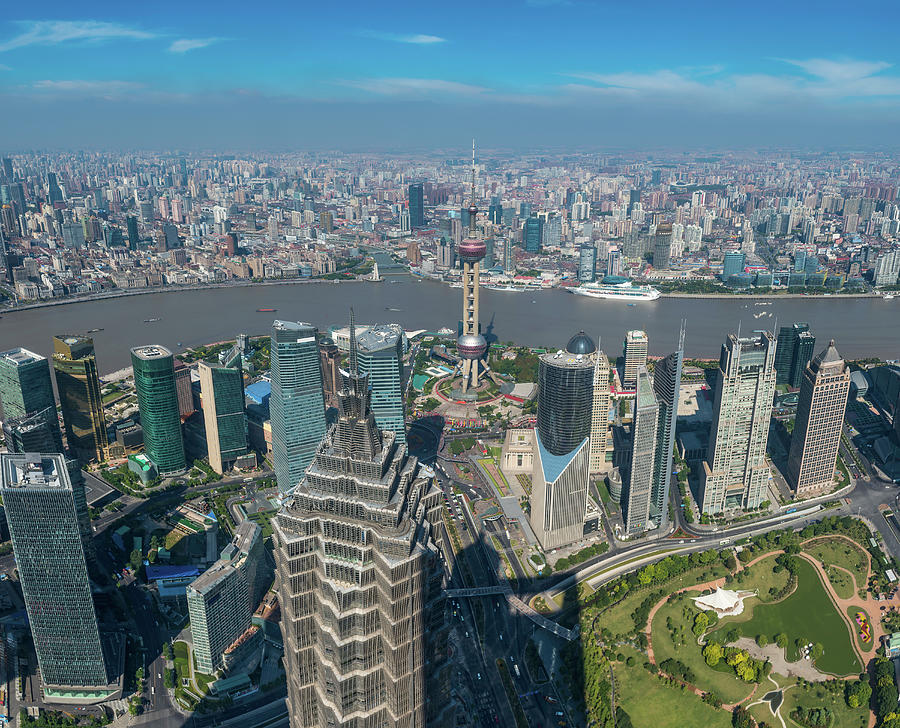 Shanghai Aerial View Over Pundong Photograph by Fotovoyager