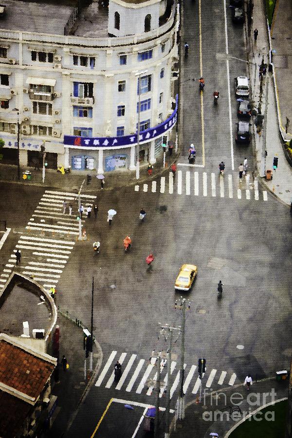 Shanghai China Painting - Shanghai China Big City Urban Scene From Above by Jani Bryson