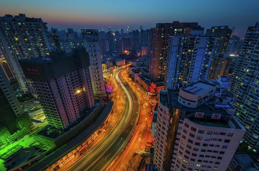 Shanghai City Lights Photograph by Rwp Uk