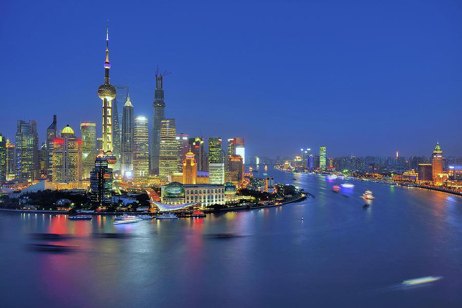 Shanghai Cityscape Across Huangpu River Photograph by Wei Fang