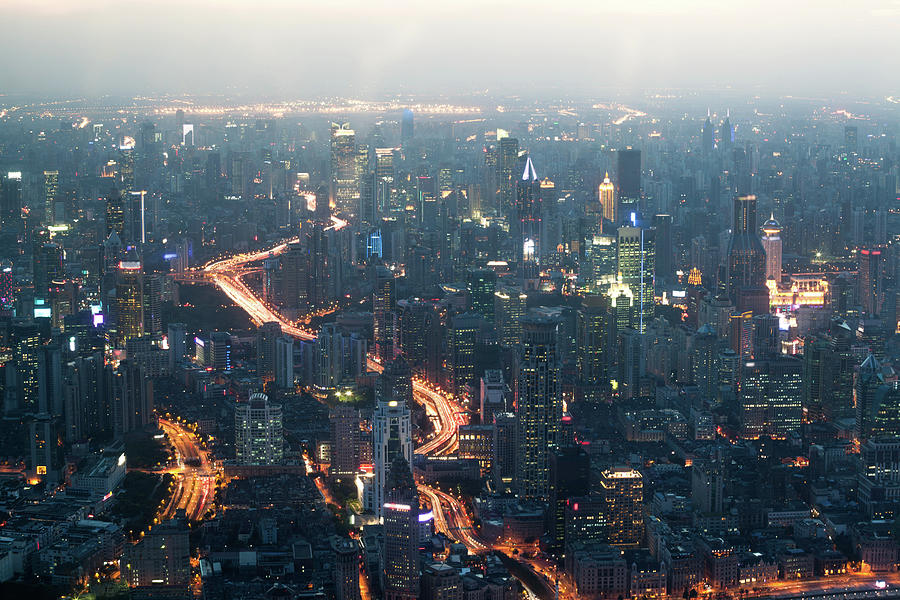 Shanghai Cityscape At Dusk, Aerial View Photograph by Matteo Colombo