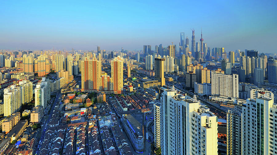 Shanghai Cityscape Under Development Photograph by Wei Fang