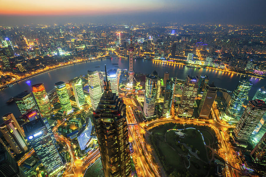Shanghai, Dusk To Night, China Photograph by Cuiphoto
