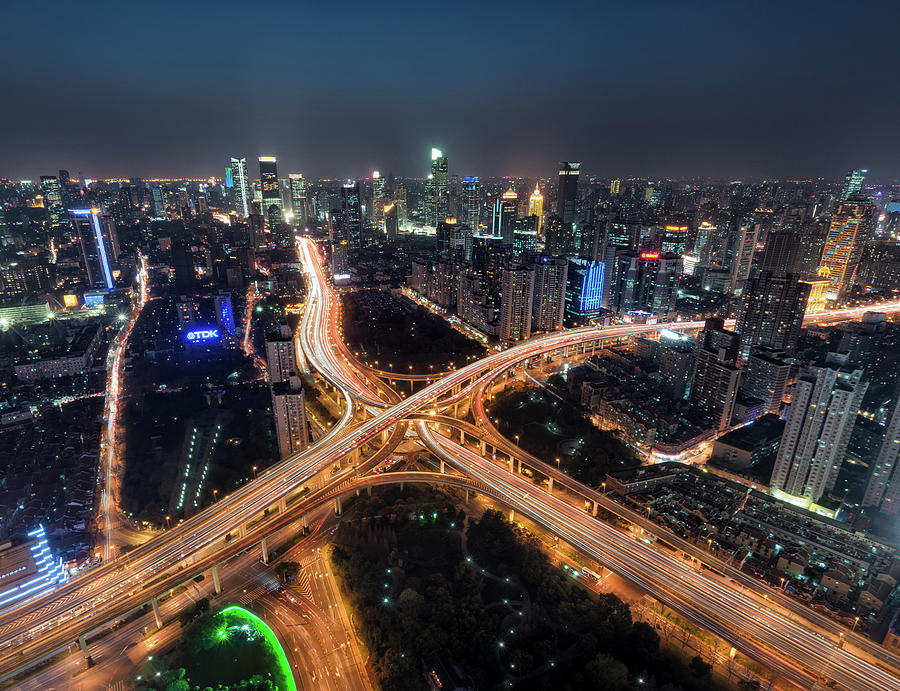 Shanghai Highway Stack Interchange And Photograph by Hugociss
