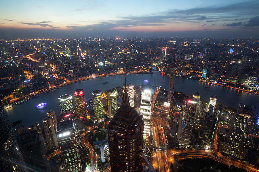 Shanghai Pudong City At Night From The Photograph by Matteo Colombo