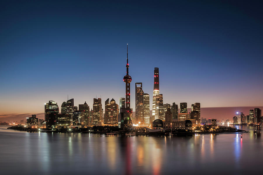 Shanghai Skyline And Huangpu River At Photograph by Martin Puddy