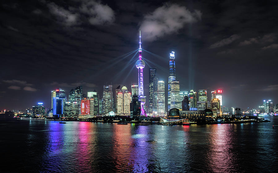 Shanghai Skyline At Night Photograph by Martin Puddy
