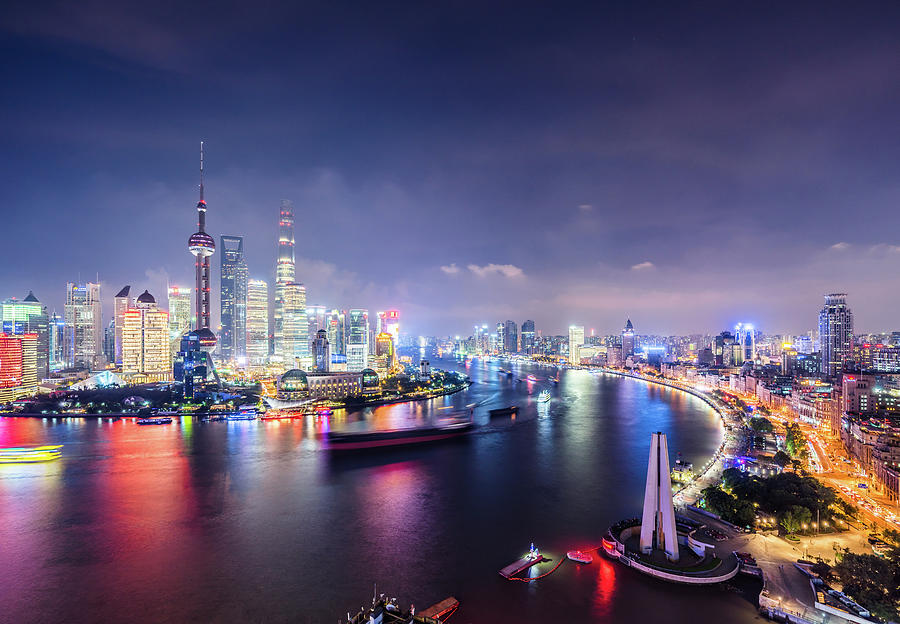 Shanghai Skyline At Night Photograph by Yongyuan Dai