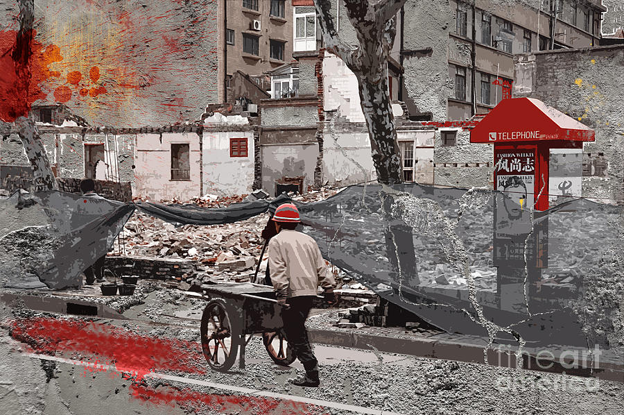 Shanghai Photograph - Shanghai Street Creation by Delphimages Photo Creations
