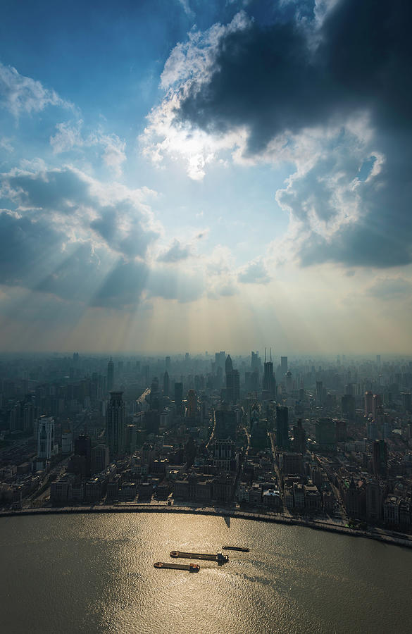 Shanghai Sunbeams Over The Bund And Photograph by Fotovoyager