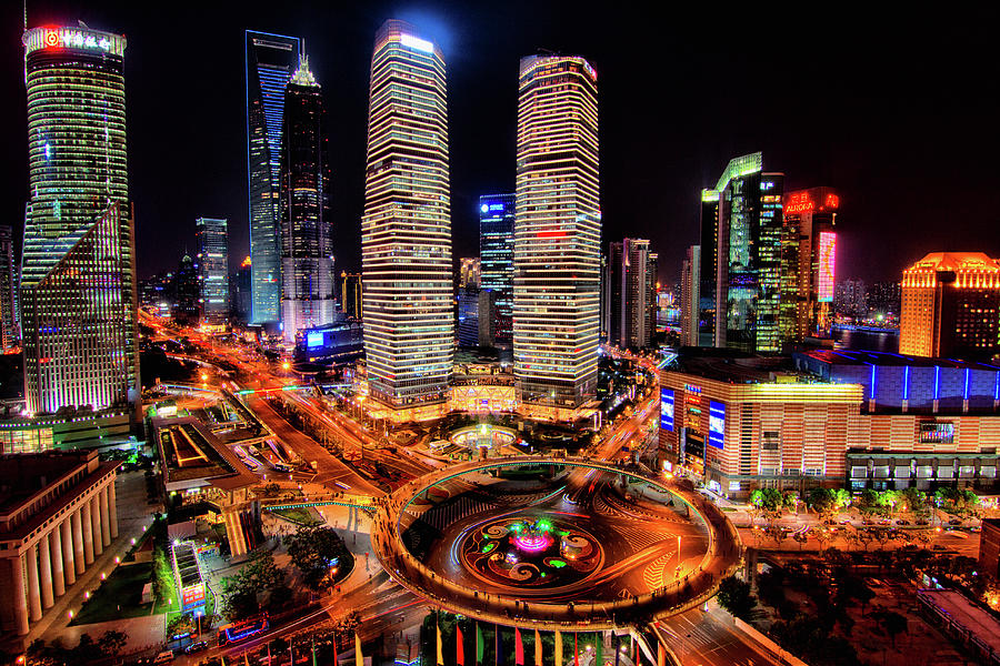 Shanghais Financial City Center Photograph by Mimo Khair Photography