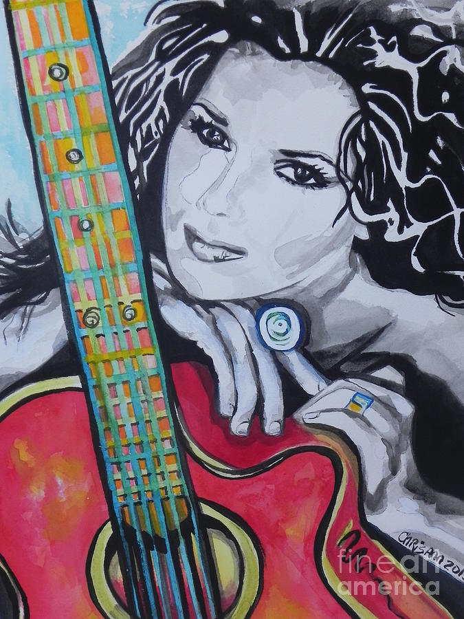 Watercolor Painting Painting - Shania Twain by Chrisann Ellis