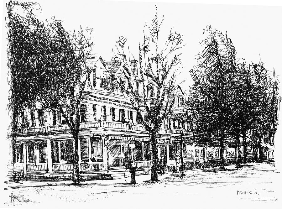 Upstate Drawing - Shanley Hotel by Monica Cohen