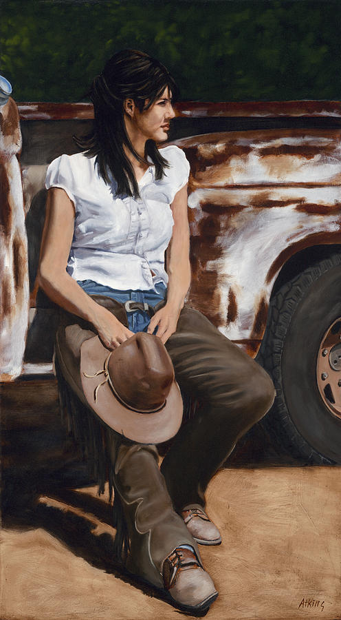 Cowgirl Painting - Shanti Waiting by Jack Atkins