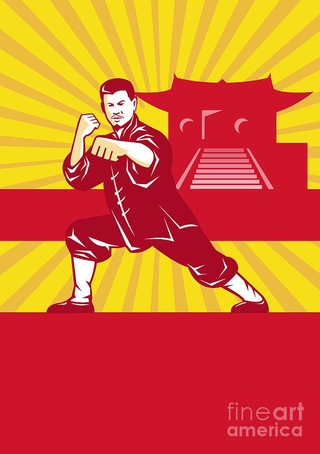 Shaolin Digital Art - Shaolin Kung Fu Martial Arts Master Retro by Aloysius Patrimonio