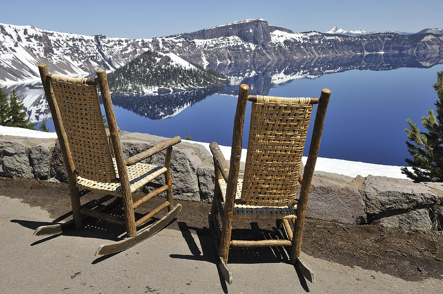 Crater Lake Photograph - Share A Moment At Crater Lake Oregon by Clay and Gill Ross