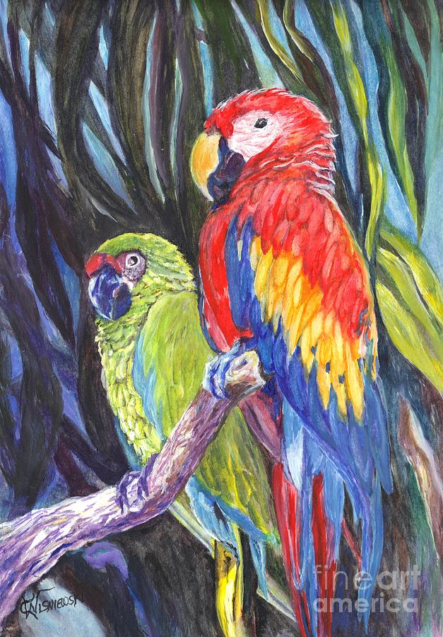 Macaws Painting - We Are Sharing A Perch  by Carol Wisniewski