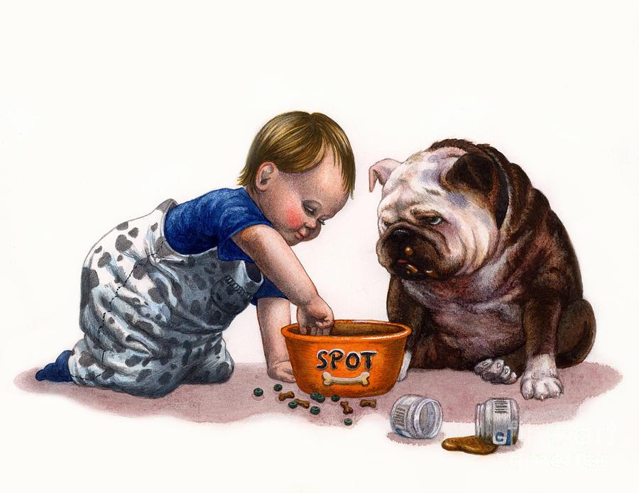 Baby Painting - Sharing Food by Isabella Kung