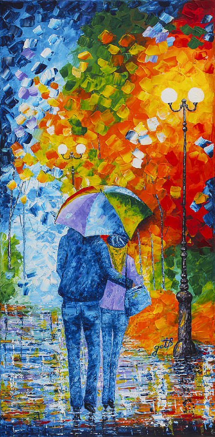SHARING LOVE ON A RAINY EVENING original palette knife painting by Georgeta Blanaru