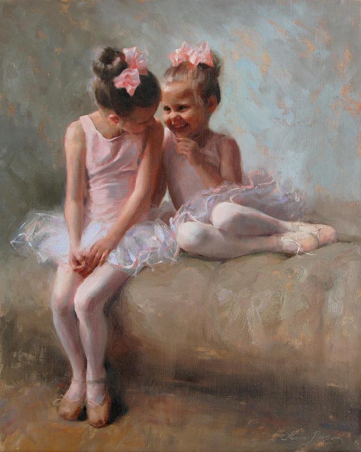 Children Painting - Sharing Secrets by Anna Bain