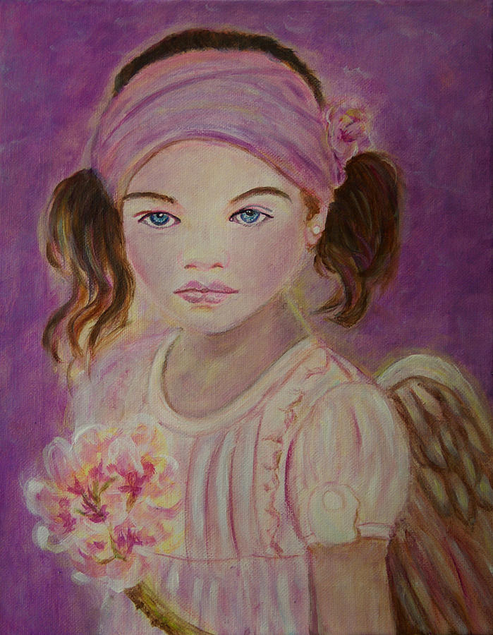 Angel Painting - Sharissa Little Angel Of New Beginnings by The Art With A Heart By Charlotte Phillips