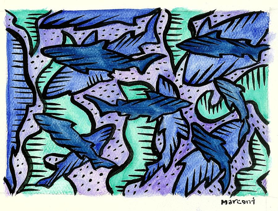Sharkpac... Painting by Marconi Calindas