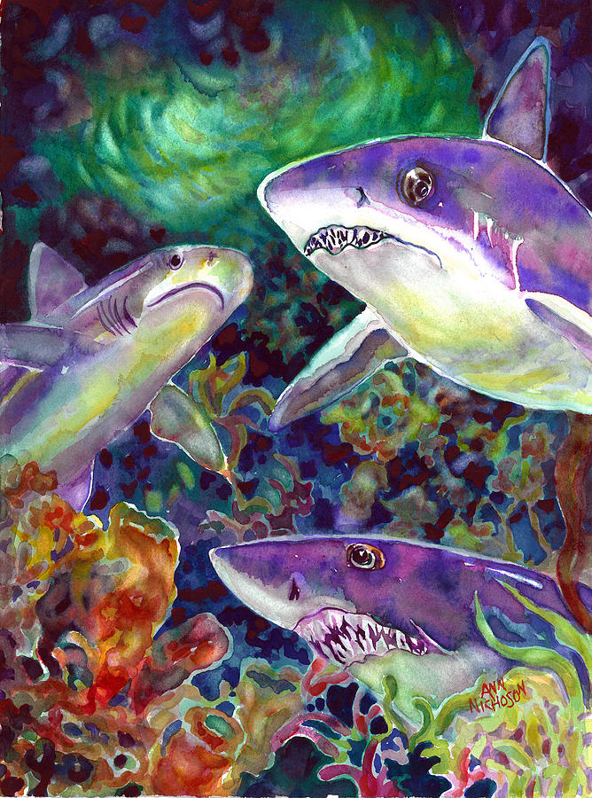 Sharks Painting - Sharks by Ann  Nicholson