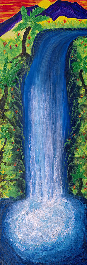 Landscape Painting - Shasta Falls by Wisper Krimmer
