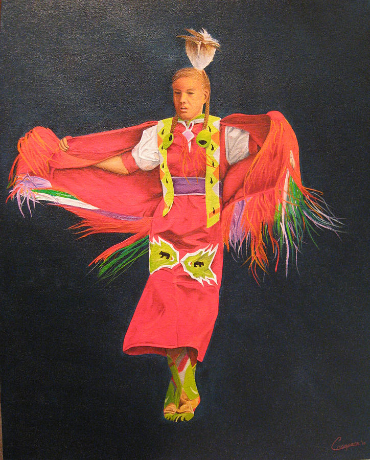 Oil Painting - Shawl Dancer by Neal Creapeau