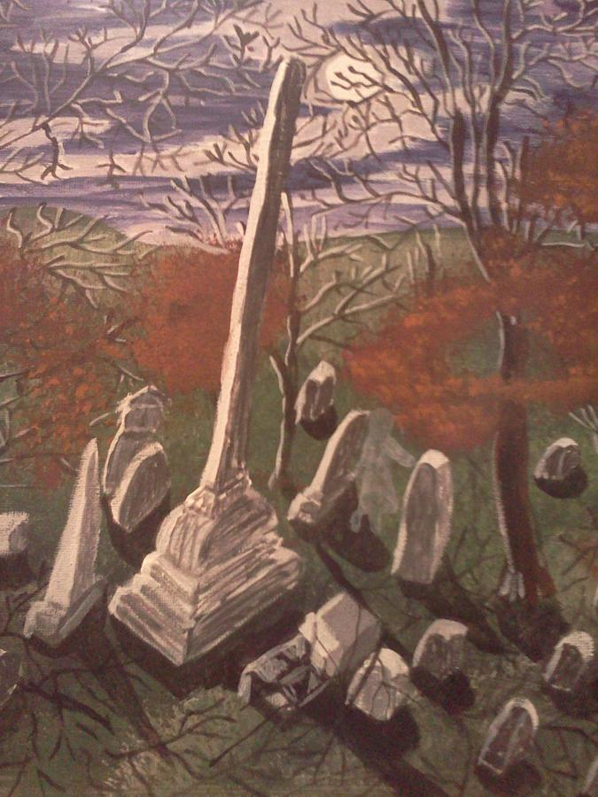 Cemetery. At Moonlight Painting - She Awakes by Renee McKnight