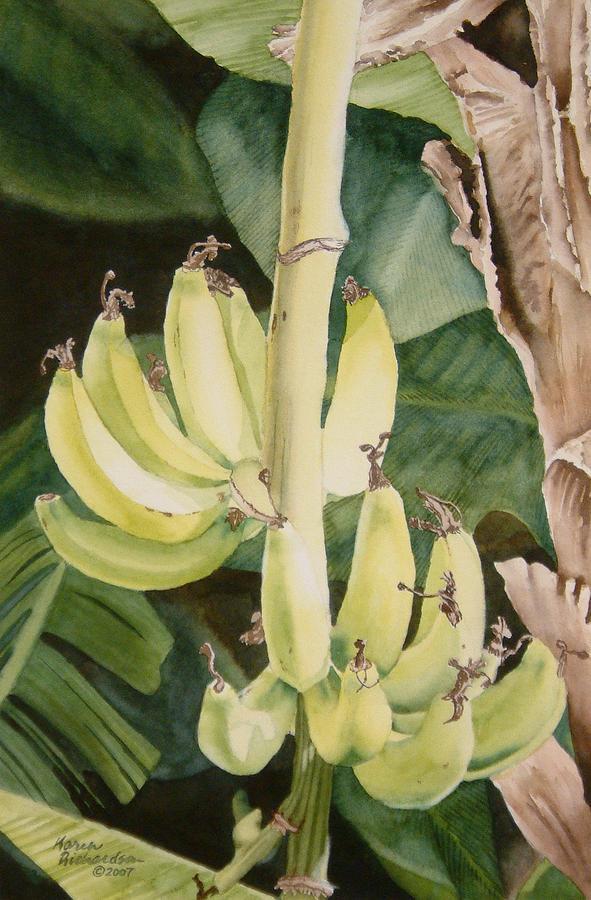 Watercolor Painting - She Has Gone Bananas by Karen Richardson
