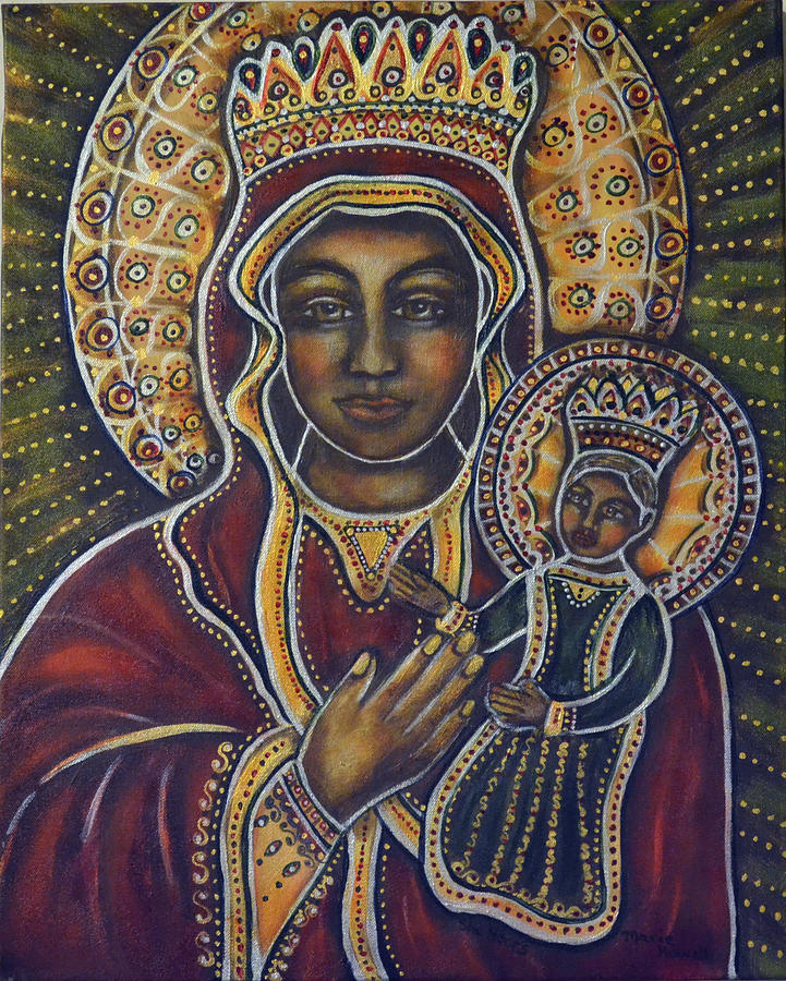 Black Madonna Painting - She Hears by Marie Howell Gallery