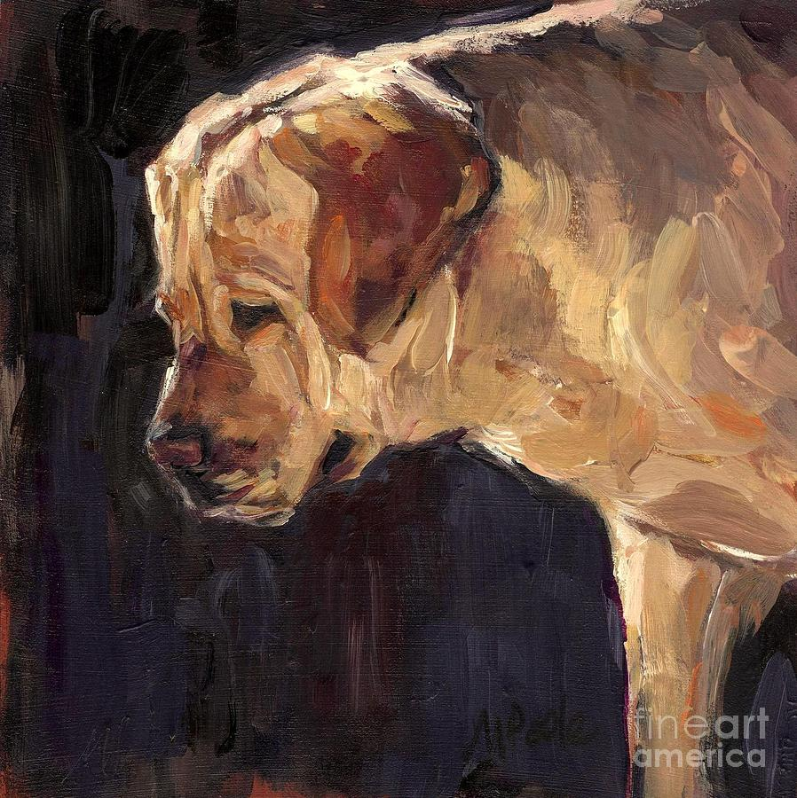 Yellow Labrador Retriever Painting - She Is A Looker by Molly Poole