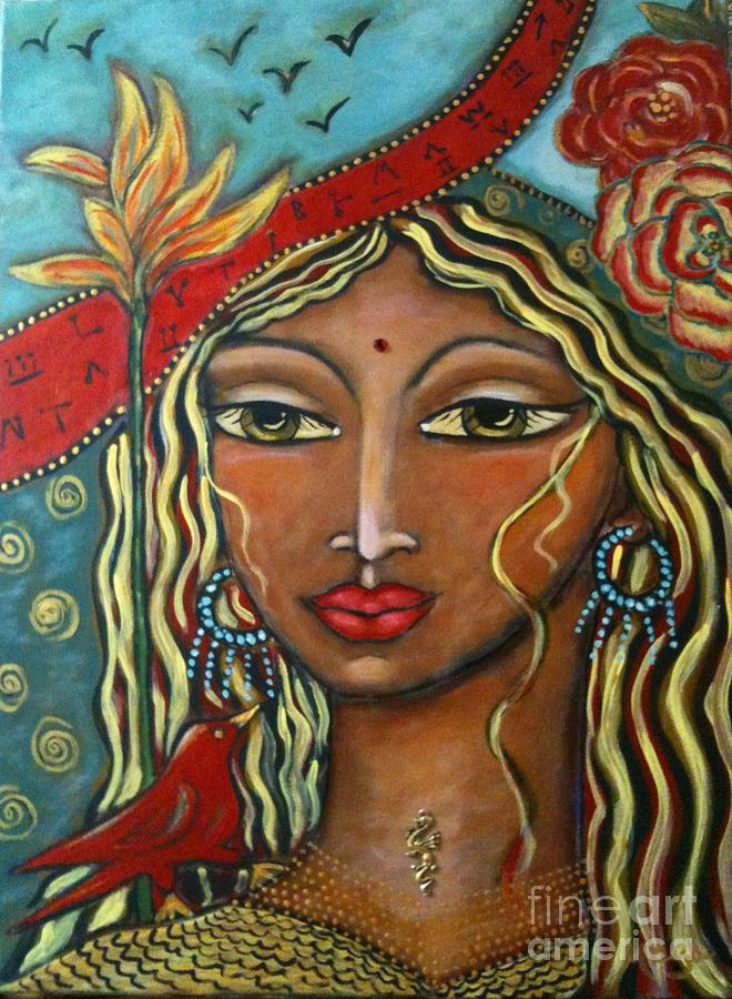 Contemporary Symbolism Painting - She Listens by Maya Telford