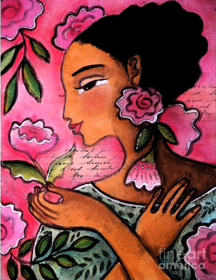 Figurative Mixed Media - She Loves Flowers by Elaine Jackson