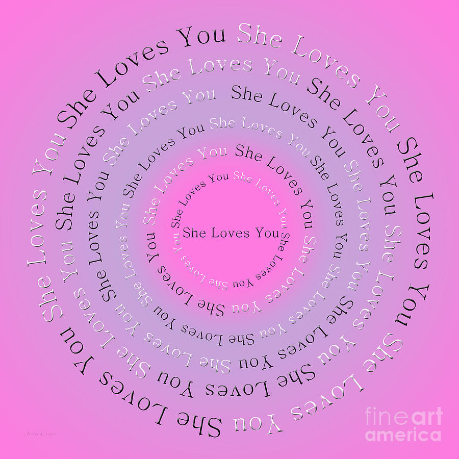 Song Digital Art - She Loves You 2 by Andee Design