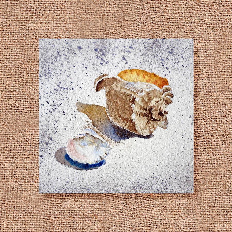 Seashell Painting - She Sells Sea Shells Decorative Collage by Irina Sztukowski