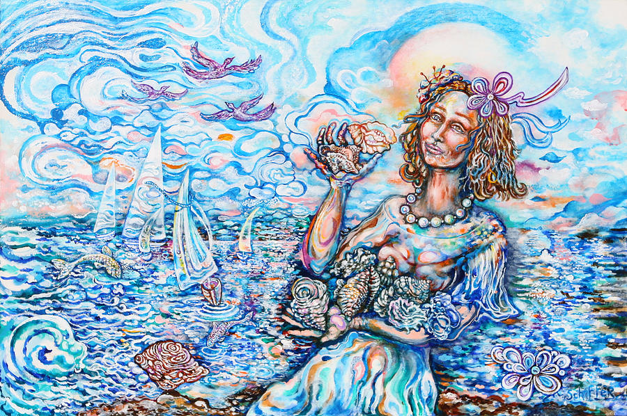 Blue Painting - She Sells Seashells By The Seashore by Susan Schiffer