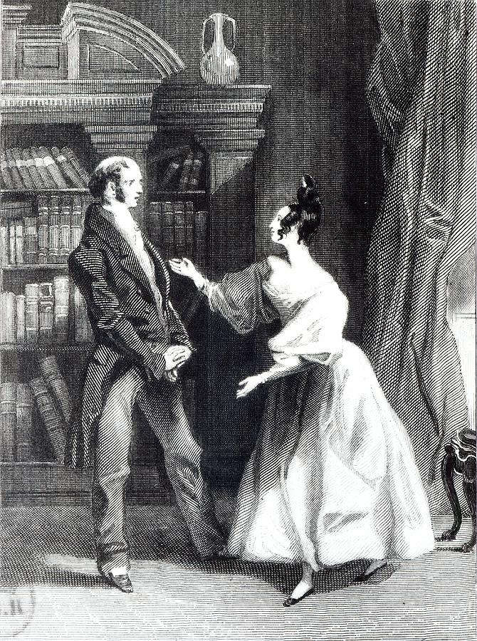 Orgueil Et Prejuge; Talking; Regency Costume; Male; Female; Discussion; Talking; Interior; Bookcase; Shelves; Bookshelves; Gesture Drawing - She Then Told Him What Mr Darcy Had Voluntarily Done For Lydia by William Greatbach