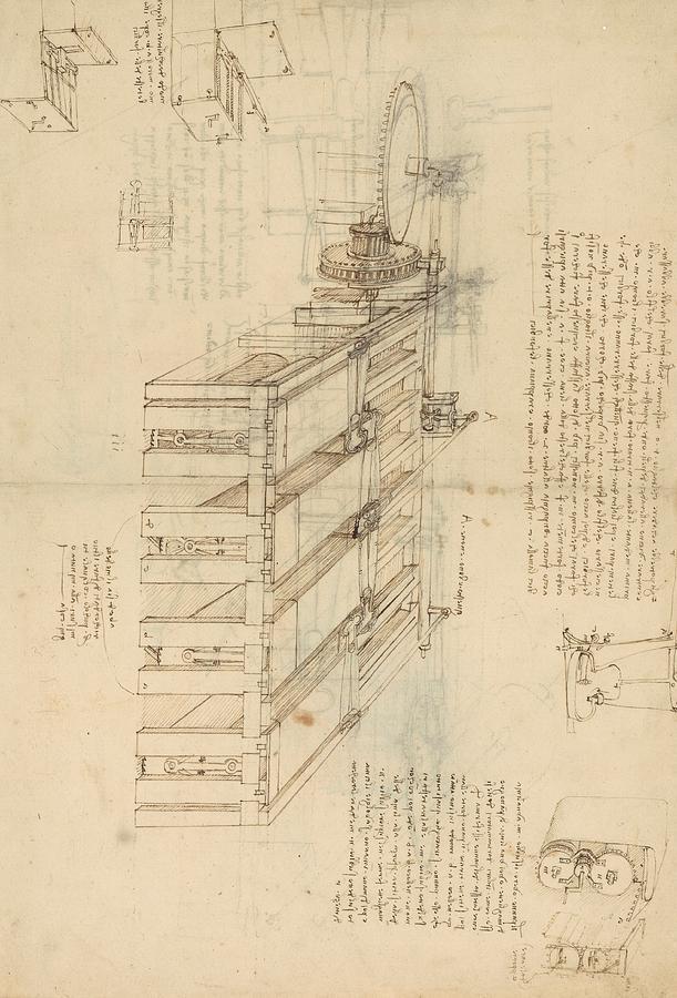 Leonardo Drawing - Shearing Machine With Detailed Captions Explaining Its Working From Atlantic Codex by Leonardo Da Vinci