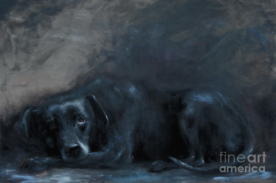 Dog Painting - Sheba- Portrait of a Homeless Mans Beloved Pet by Stella Violano