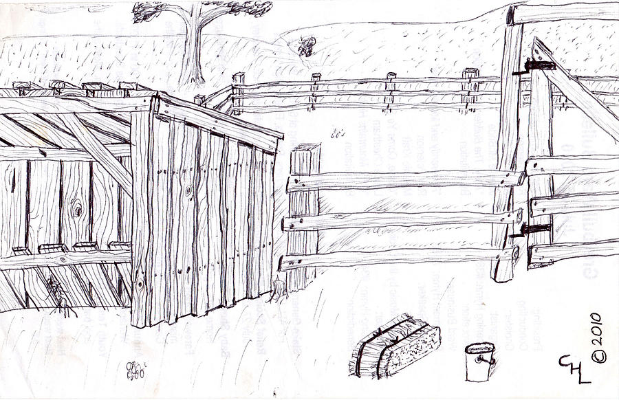 Landscape Drawing - Shed 1 by Clark Letellier