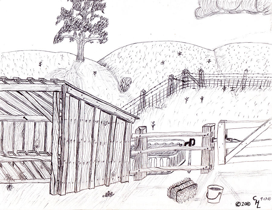 Landscape Drawing - Shed 2 by Clark Letellier